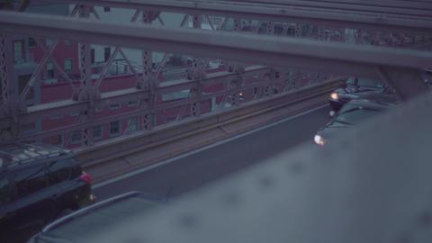 Traffic Passing Over The Brooklyn Bridge Footage