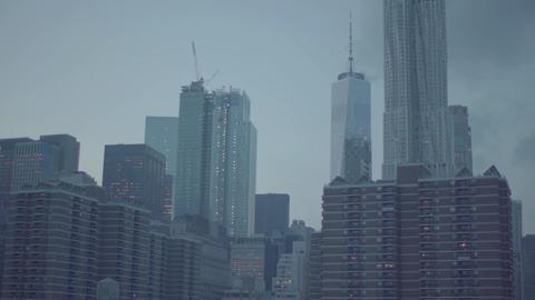 Skyline New York City Manhattan and Brooklyn Bridge At Sunset Footage