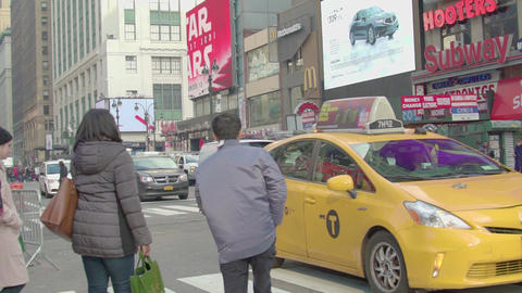 Crowd of people walking crossing on a New York City street, slow motion Footage