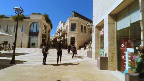 Jerusalem, Israel - May 11, 2017: Shoppers and tourists at Mamilla shopping Footage