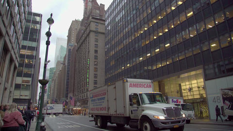 Congested Busy Street Traffic Cars People Pedestrians Manhattan New York Footage