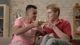 Multinational gay couple sitting on a sofa, clinking glasses and drinking wine Footage