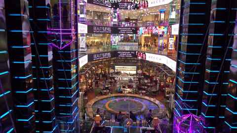 MOSCOW, RUSSIA - AUGUST, 10, 2016. Atrium of famous Russian shopping mall Footage