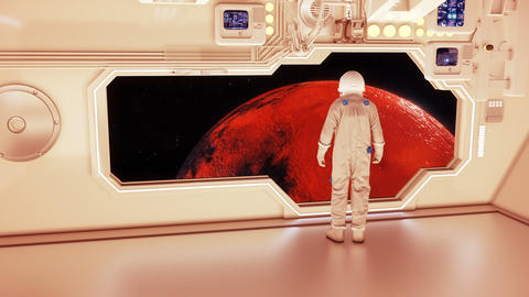 An astronaut on a spaceship watching the mars 애니메이션