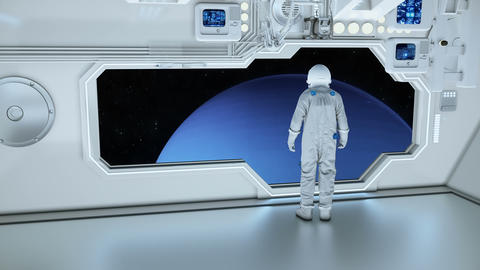 An astronaut on a spaceship watching the neptun 애니메이션