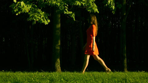 Beautiful brunette girl in red dress walking on the grass in the park from right Footage
