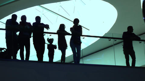 Silhouettes of adults and children standing near glassy handrail in modern Footage