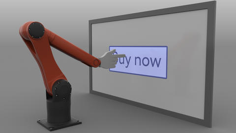 Stylized robot arm clicking Buy now button on the screen. E-commerce online Live Action