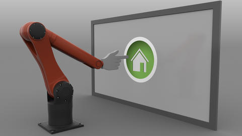 Robotic arm with cursor clicking round Home button. Real estate market Footage