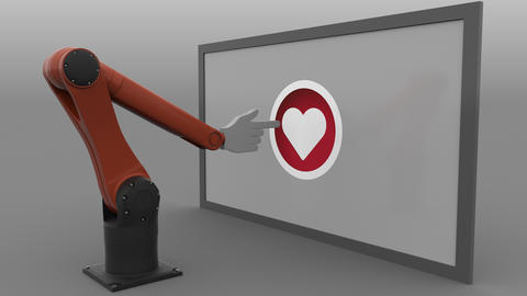 Robotic arm clicking heart-shaped like button. Automated social media promotion Footage
