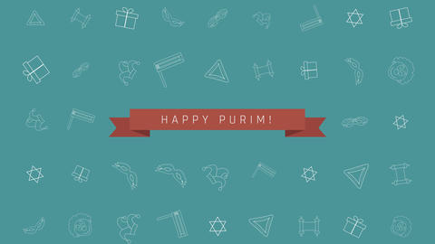 Purim holiday flat design animation background with traditional outline icon Animación