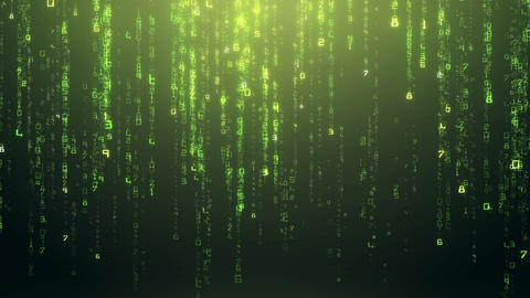 Futuristic Digital Green Numbers Falling Down Background Live Action