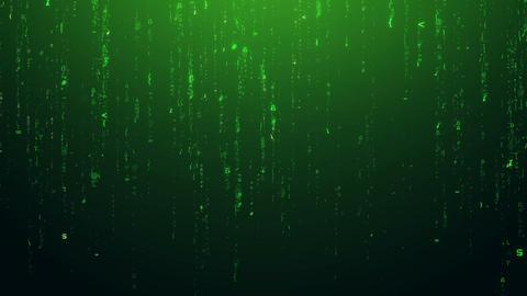 Futuristic Digital Green Symbols Falling Down Background Live Action