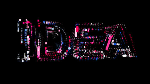 Letters are collected in text IDEA, then scattered into strips. Bright colors. Animation