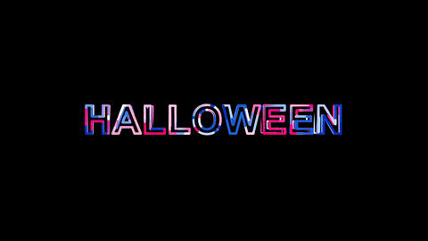 Letters are collected in text HALLOWEEN, then scattered into strips. Bright Animation