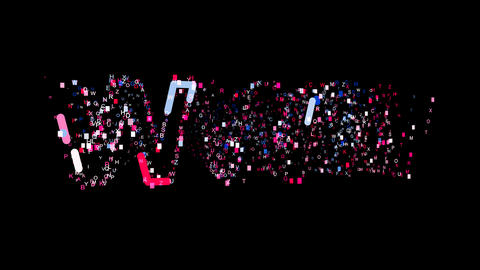 Letters are collected in text WWW, then scattered into strips. Bright colors. Animation