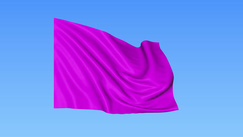 Waving glossy magenta flag, seamless loop. Blue background. Part of set. 4K Live Action