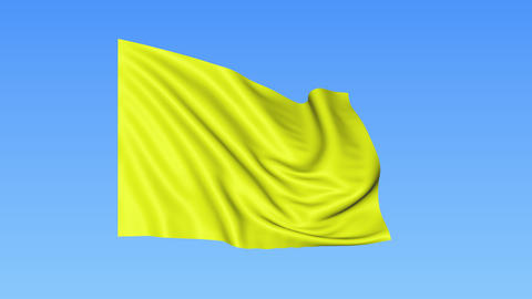 Waving glossy yellow flag, seamless loop. Blue background. Part of set. 4K Live Action