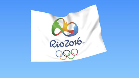 Waving flag of Olympic games in Rio 2016 Footage