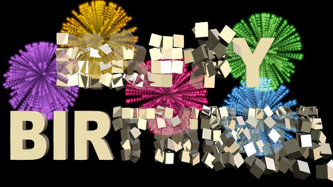 Rotating small 3d gift boxes creating Happy birthday, beautiful multicolored Animation