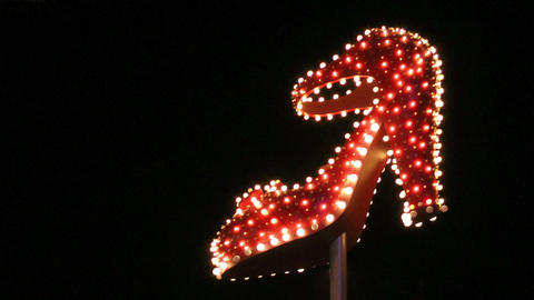 Lit up high heel shoe in Las Vegas Stock Video Footage