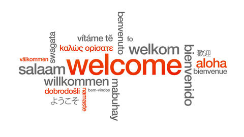 Welcome in different languages Stock Video Footage