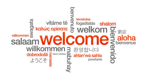 Welcome in different languages Animation