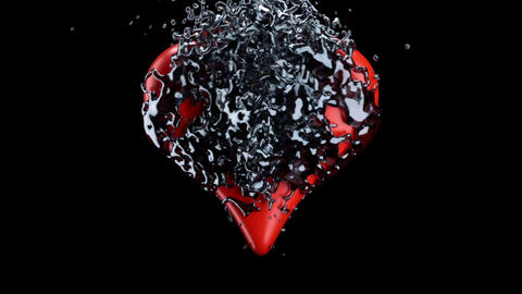 Red heart shape and liquid splashes with slow motion.... Stock Video Footage