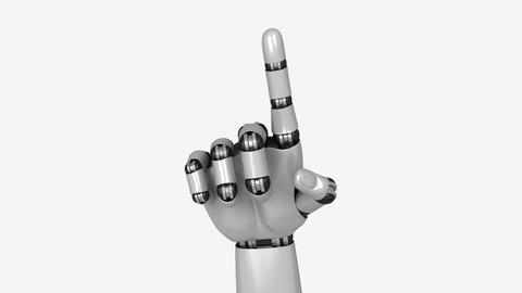 Deny Gesture Made By Artificial Robot Hand Animation