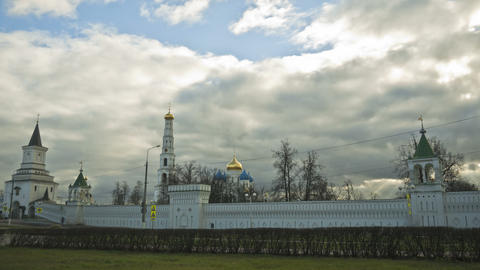 clouds over orthodox monastery Stock Video Footage