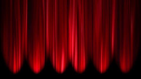 Red Curtains open, white background Animation
