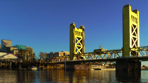 Tower Bridge over Sacramento River Stock Video Footage