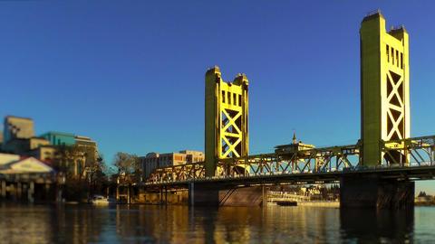 Tower Bridge over Sacramento River Stock Video Footage