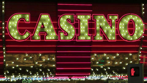 The word Casino in lights Footage