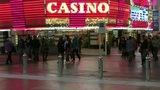 Pedestrians in front of a casino Footage