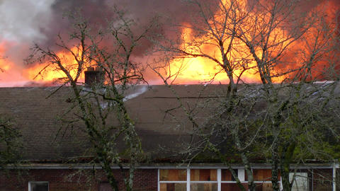 Fire consumes a building Footage