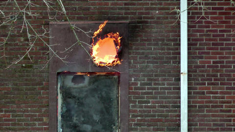 Fire Burns Through Wooden Door Footage