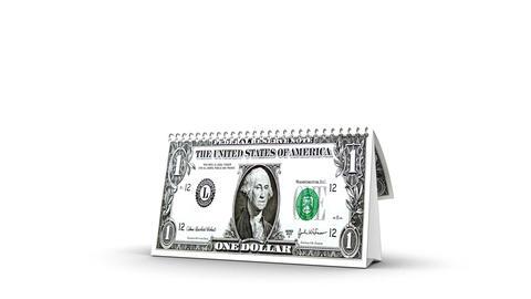 Dollar Calendar Stock Video Footage