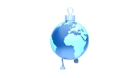 Walking Christmas ball Earth BLUE Loop (HD 30 fps + Alpha) Stock Video Footage