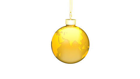Christmas Ball EARTH gold Loop (HD 30fps + Alpha) Stock Video Footage