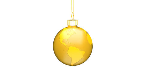 Christmas Ball EARTH gold Loop (HD 30fps + Alpha) Animation