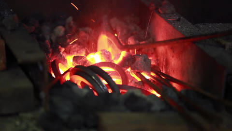 fire in the forge furnace Stock Video Footage