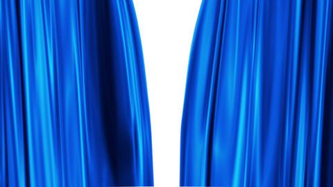 Blue Curtains open, white background Animation