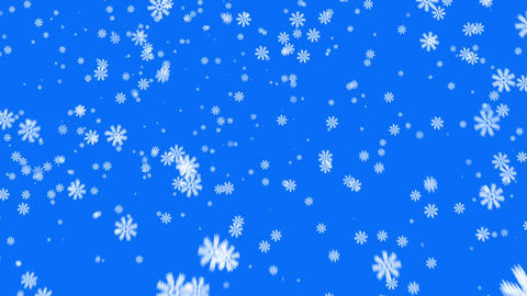 Snow on blue background, loop Stock Video Footage