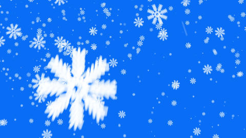 Snow on blue background, loop Animation