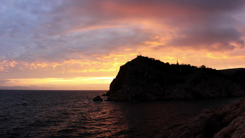 Timelapse sunset in the mountains. Balaklava, Crimea,... Stock Video Footage