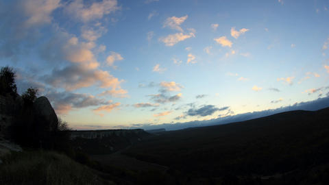 Timelapse sunrise in the mountains. Cave city Eski-Kermen, Crimea, Ukraine VI-XIV centuries Footage