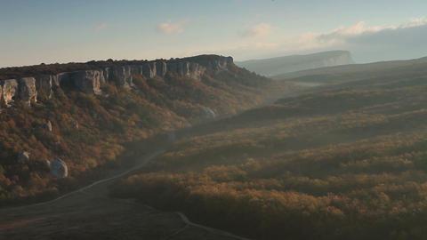 Timelapse sunrise in the mountains. Cave city Eski-Kermen, Crimea, Ukraine VI-XIV centuries Footage