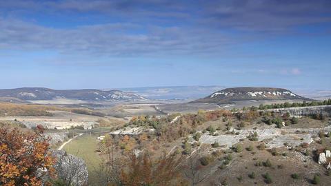 Movement of the clouds on the mountain. Cave city Eski-Kermen, Crimea, Ukraine VI-XIV centuries Footage