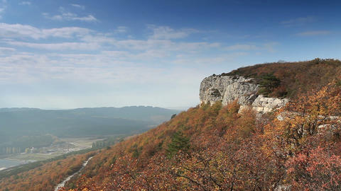 Movement of the clouds on the mountain. Cave city... Stock Video Footage